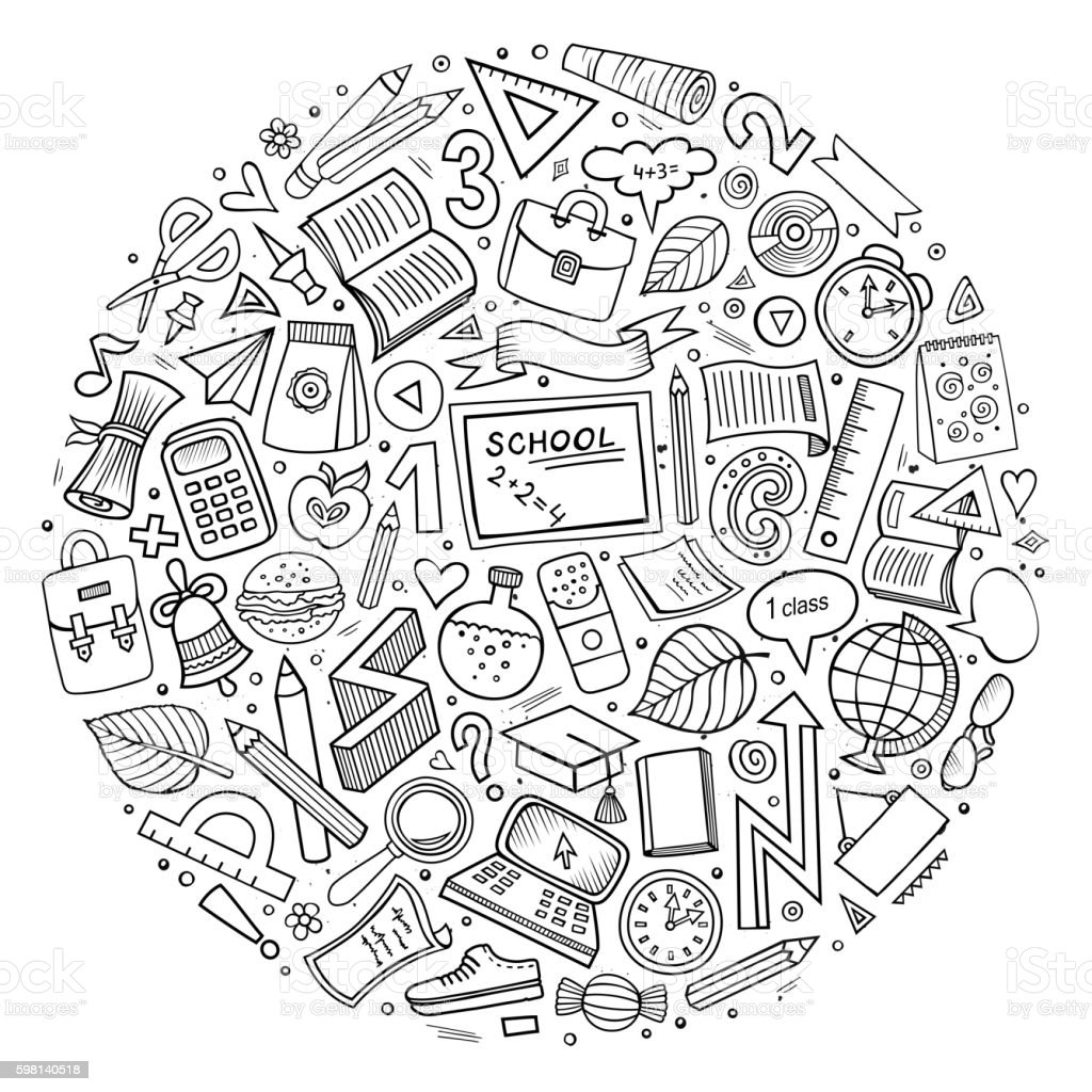 Cartoon Back to school objects set vector art illustration