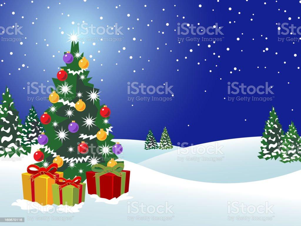 Cartoon background of Christmas tree vector art illustration