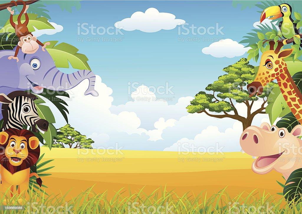 Cartoon background of jungle animals royalty-free stock vector art