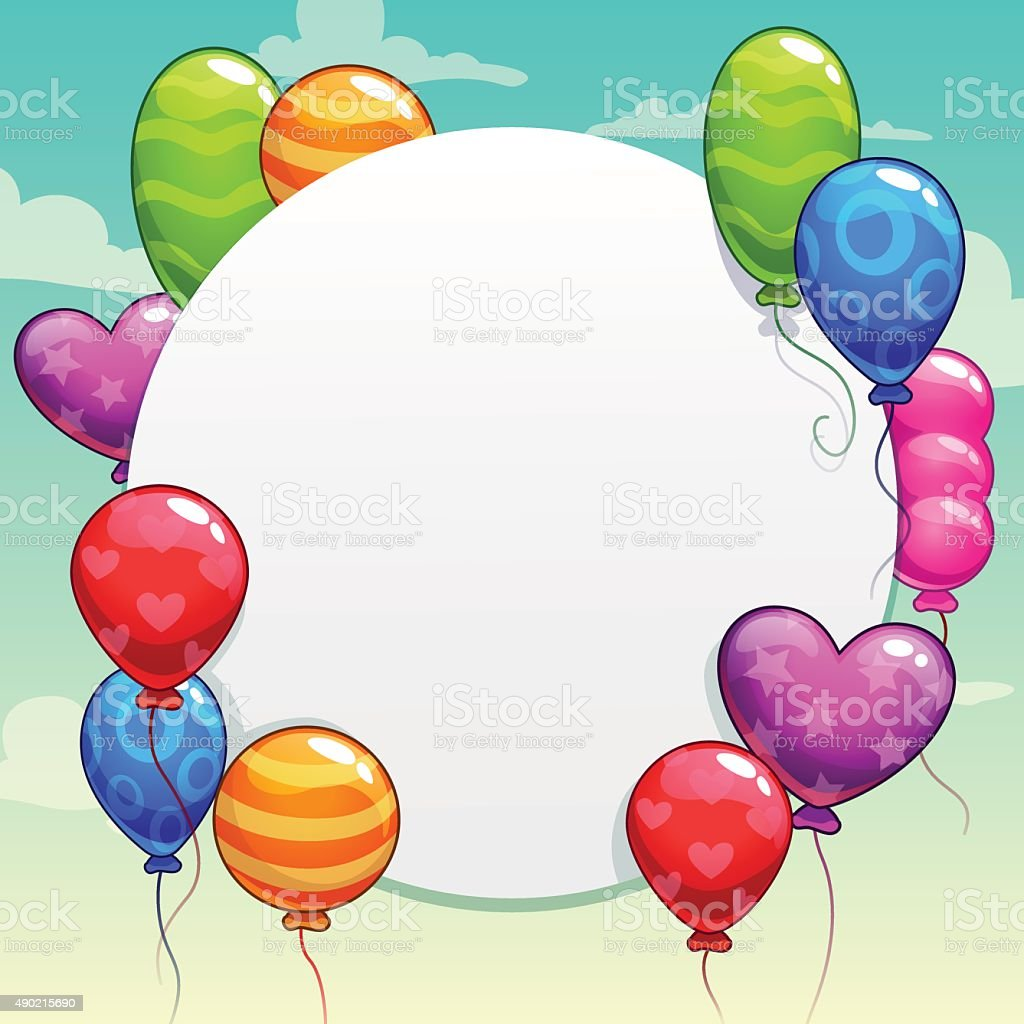 Cartoon background with bright colorful balloons vector art illustration