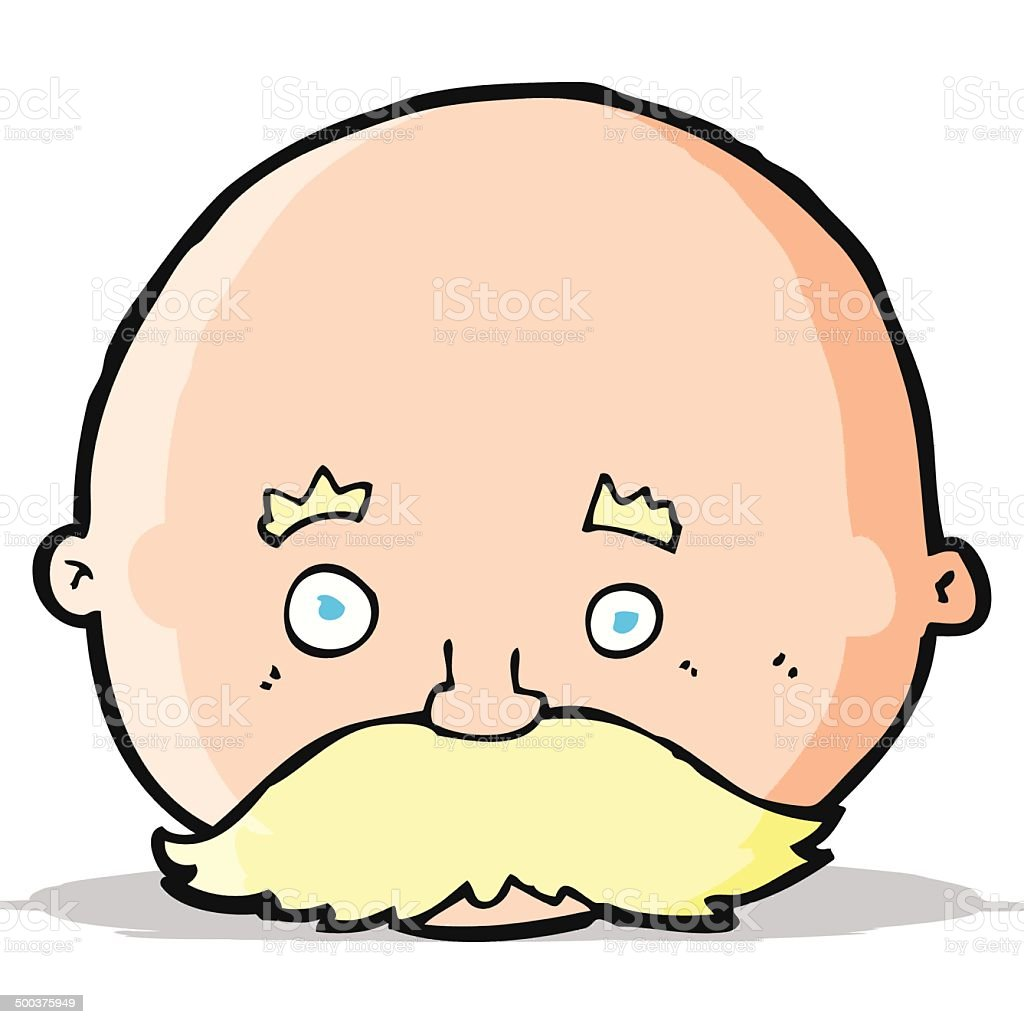 cartoon bald man with mustache royalty-free stock vector art