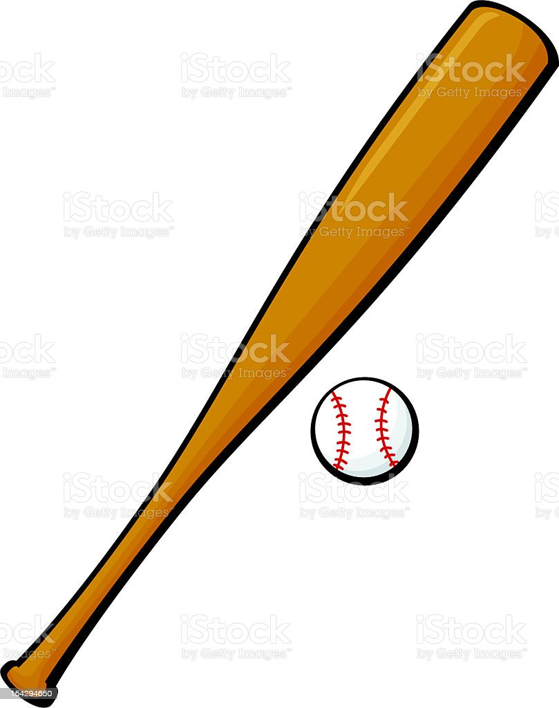 Cartoon baseball and bat illustration over white background royalty-free stock vector art
