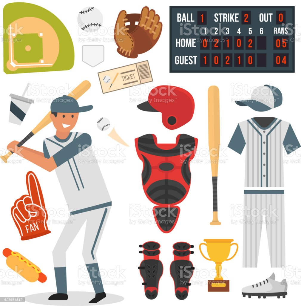 Cartoon baseball player icons batting vector design vector art illustration