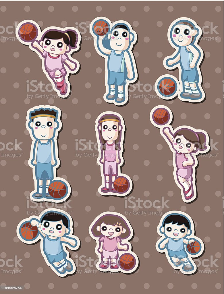 cartoon basketball player stickers royalty-free stock vector art