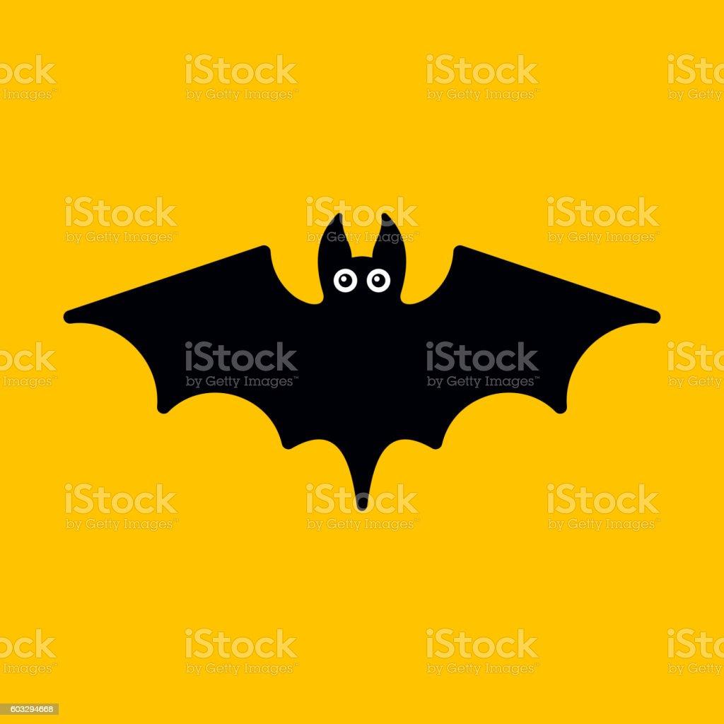 Cartoon Bat on Orange Background. Vector vector art illustration