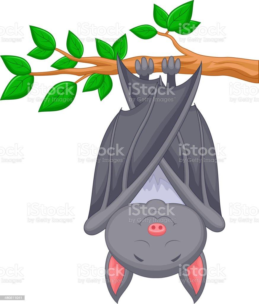 Cartoon bat sleeping vector art illustration