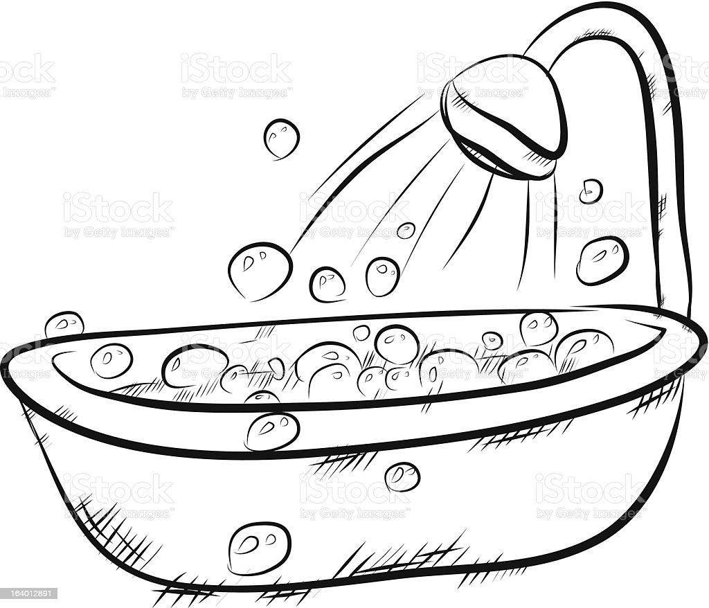 Cartoon Pictures Of Bathrooms: A Cartoon Bath And Shower Full Of Bubbles Stock Vector Art