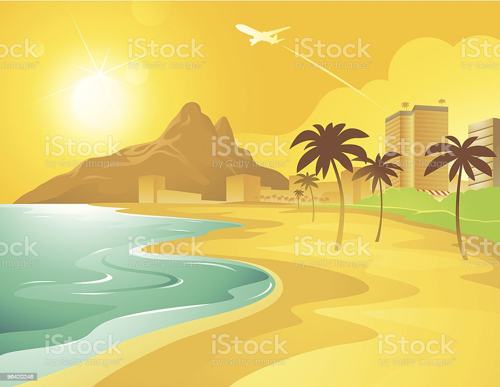 Cartoon Beach in Brazil royalty-free stock vector art