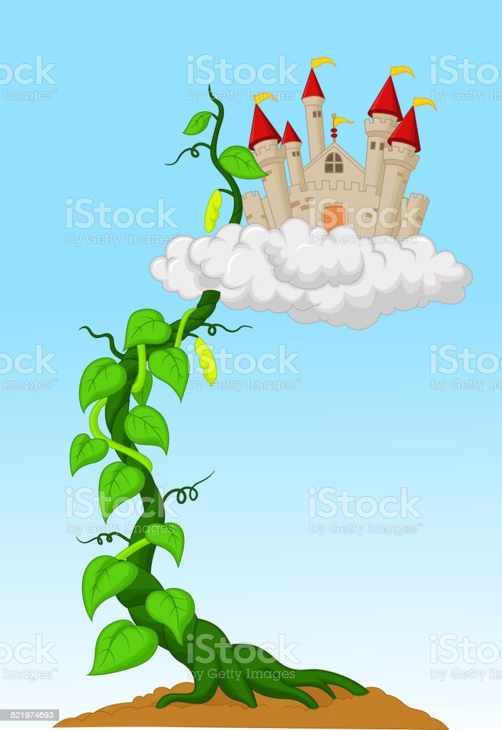 Cartoon Bean sprout with castle in the clouds vector art illustration