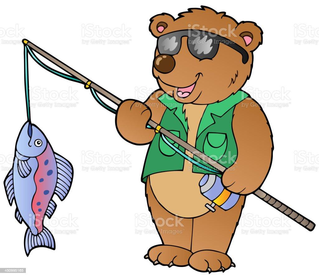 Cartoon bear fisherman royalty-free stock vector art