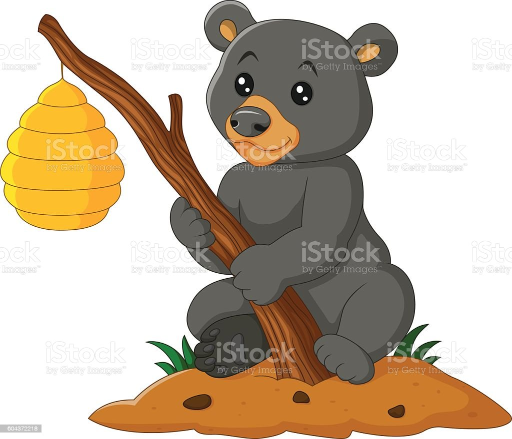 cartoon bear holding branch with bee hive stock vector art