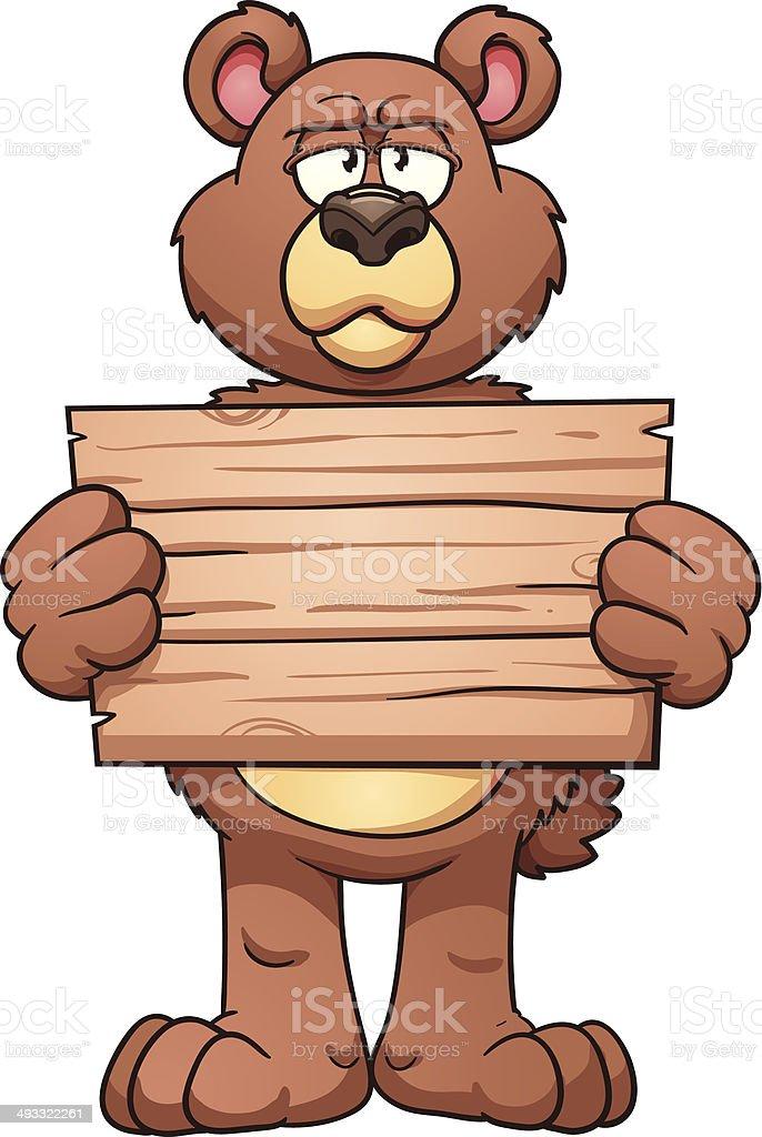 Cartoon bear holding sign royalty-free stock vector art
