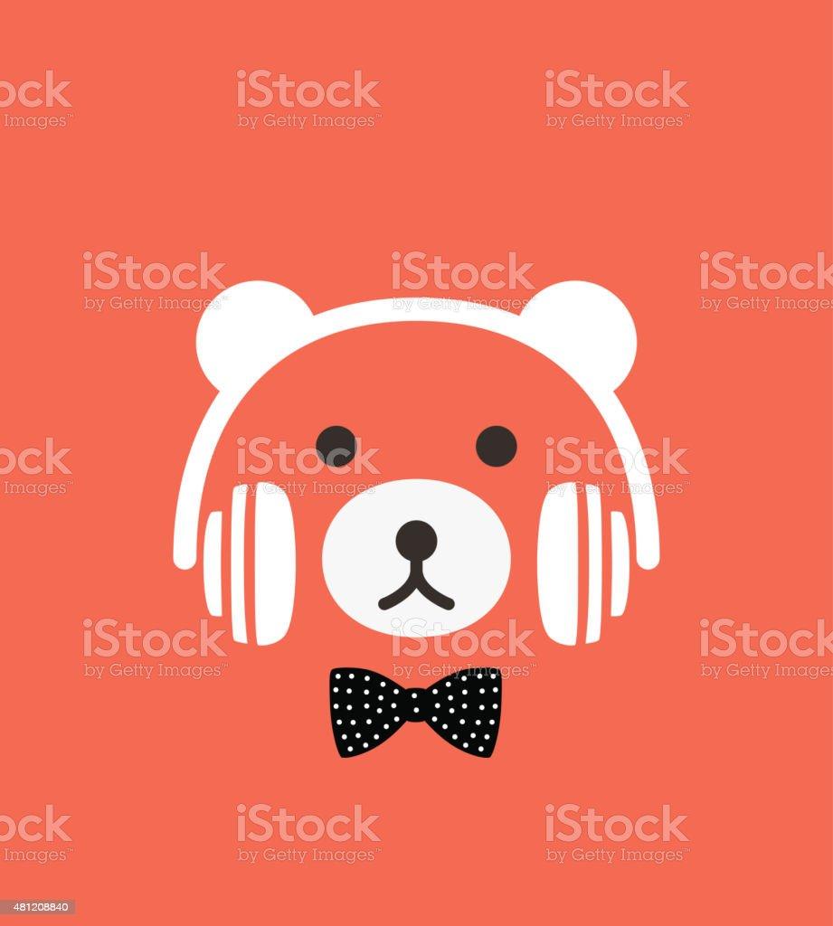 Cartoon bear wearing a headset, vector vector art illustration