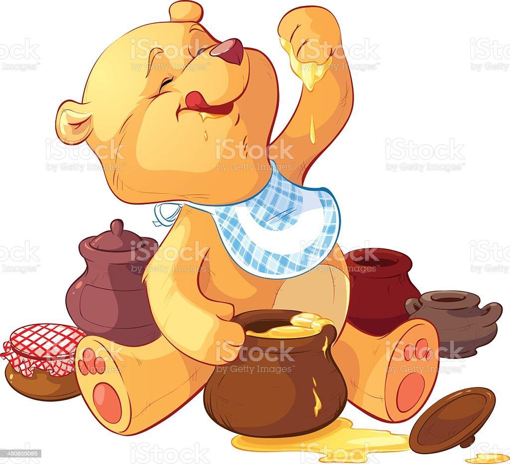 Cartoon bear wearing bib eating honey with paw from pot royalty-free stock vector art
