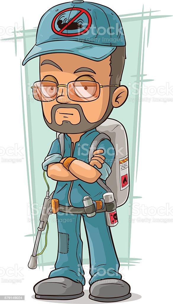 Cartoon bearded exterminator in blue uniform vector art illustration