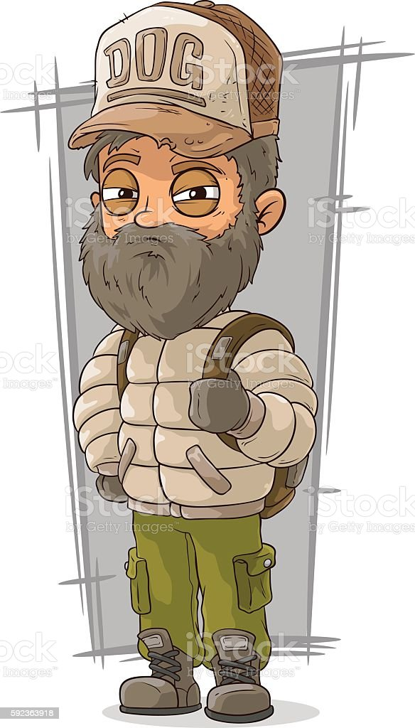 Cartoon bearded tourist with backpack vector art illustration