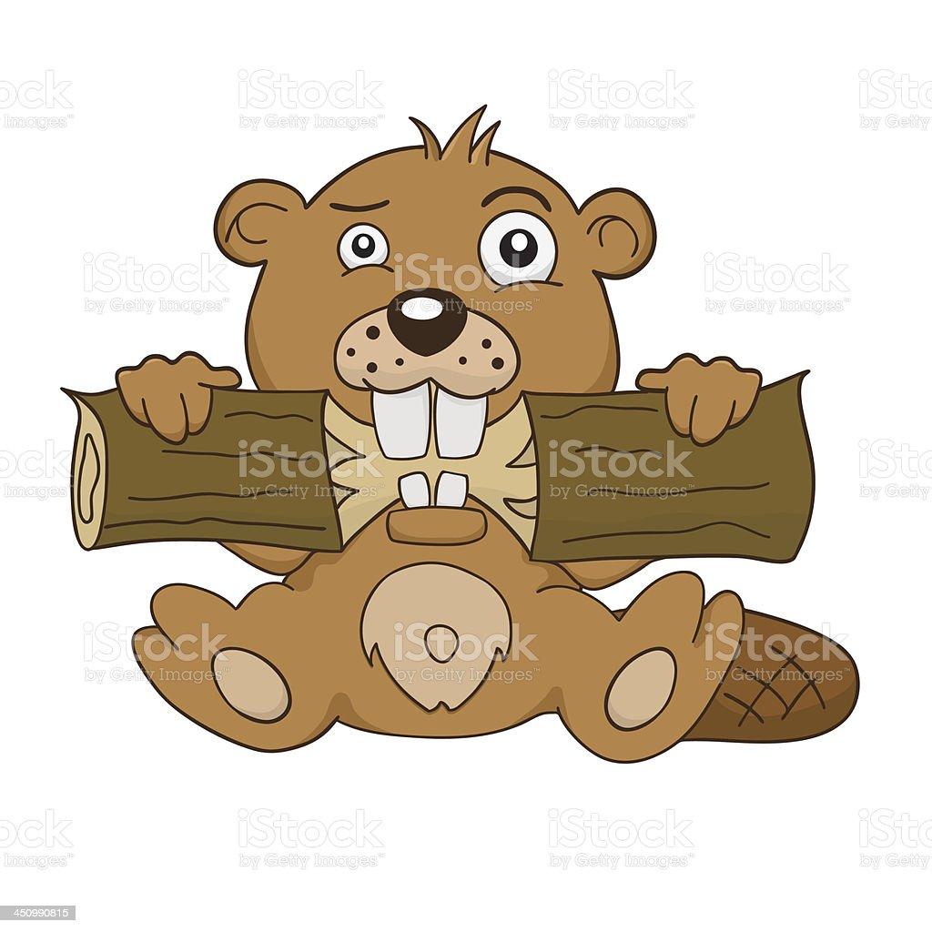 Cartoon beaver vector art illustration