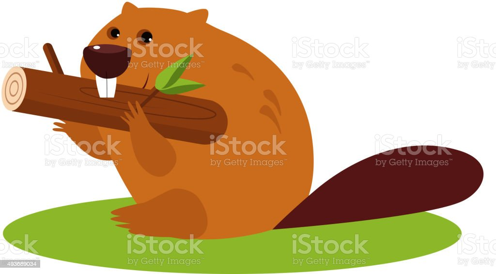 Cartoon Beaver with a Wood. Vector Illustration in Flat Style vector art illustration