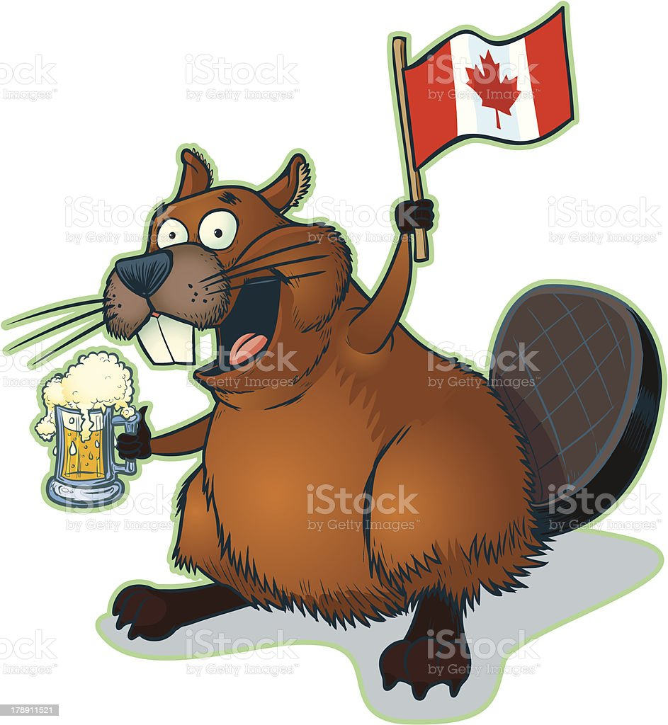 Cartoon Beaver with Mug of Beer and Canadian Flag vector art illustration