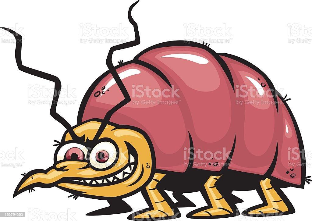 Cartoon bed bug with evil face vector art illustration
