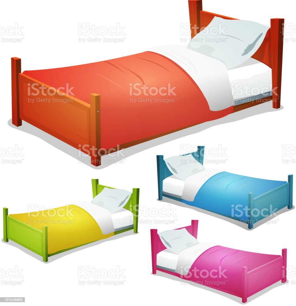 Cartoon Bed Set vector art illustration