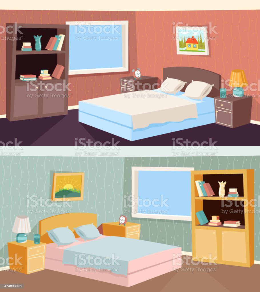 Cartoon Bedroom Apartment Livingroom Interior House Room Retro Vintage Background Royalty Free