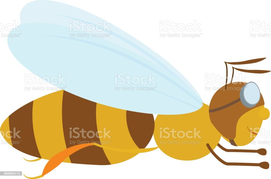cartoon bee in aviator glasses vector art illustration