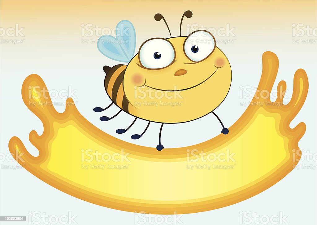 Cartoon bee that holds sheet for the text royalty-free stock vector art