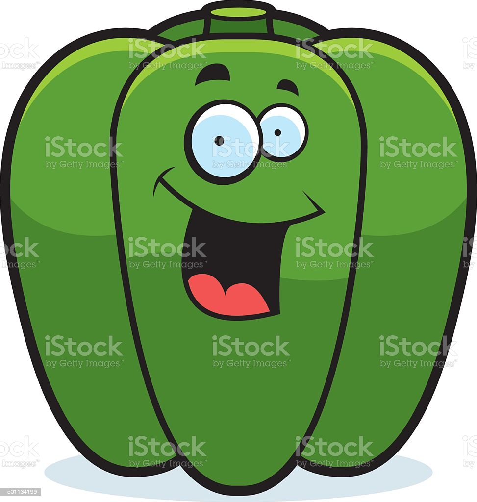 Cartoon Bell Pepper Smiling vector art illustration