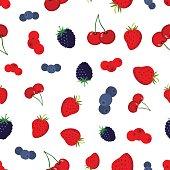 Cartoon berries pattern. Strawberry, blueberry, cranberry, cherry