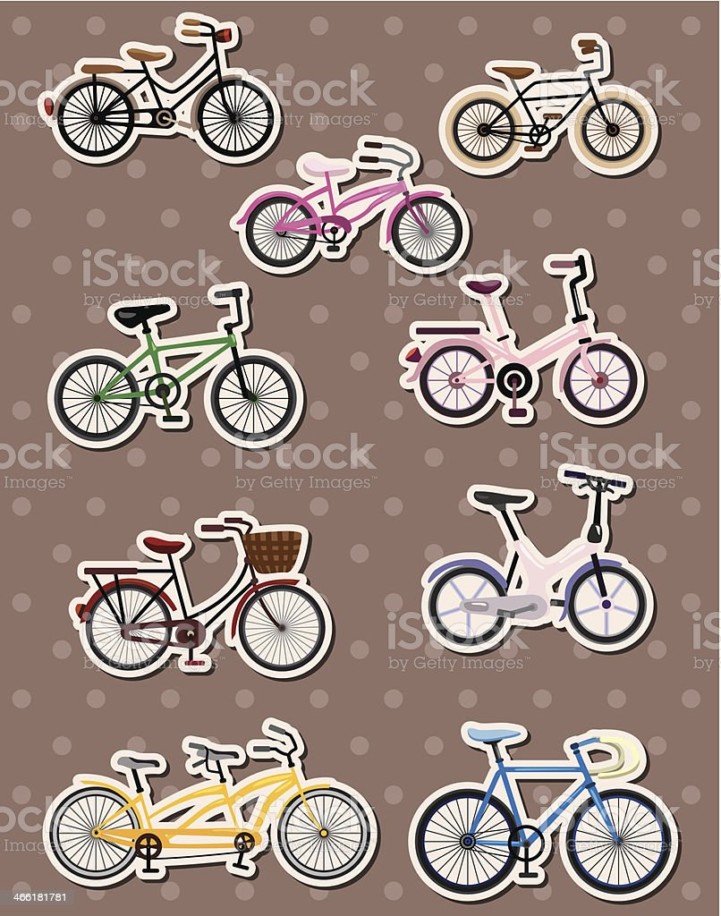 Cartoon bicycle stickers royalty free stock vector art