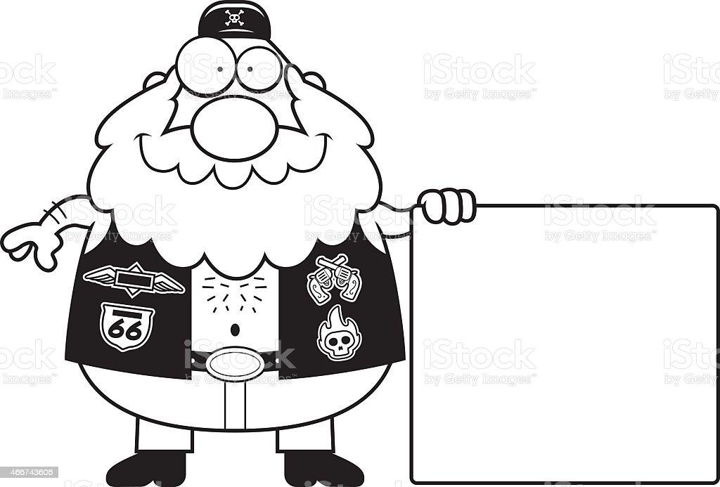 Cartoon Biker Sign vector art illustration