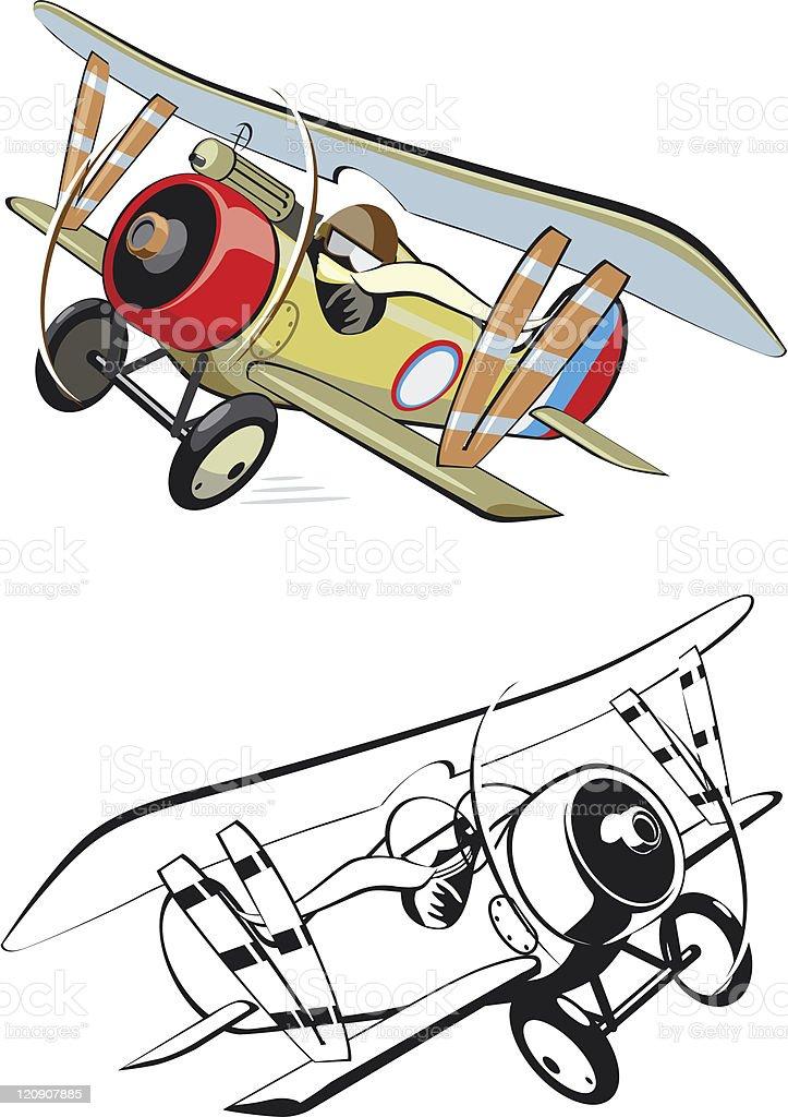 Cartoon biplane royalty-free stock vector art