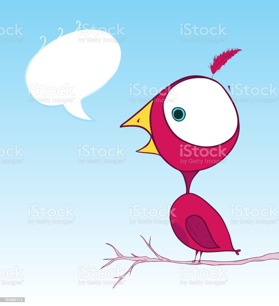 Cartoon bird with text bubble royalty-free stock vector art