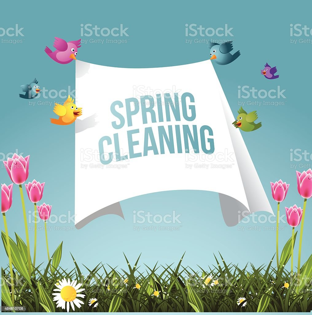 Cartoon birds flying with spring cleaning message vector art illustration