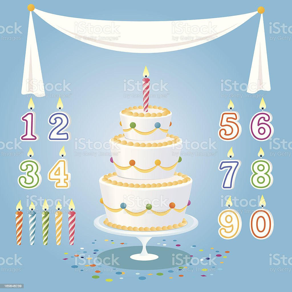 Cartoon birthday cake, candles, numbers, and tablecloth vector art illustration