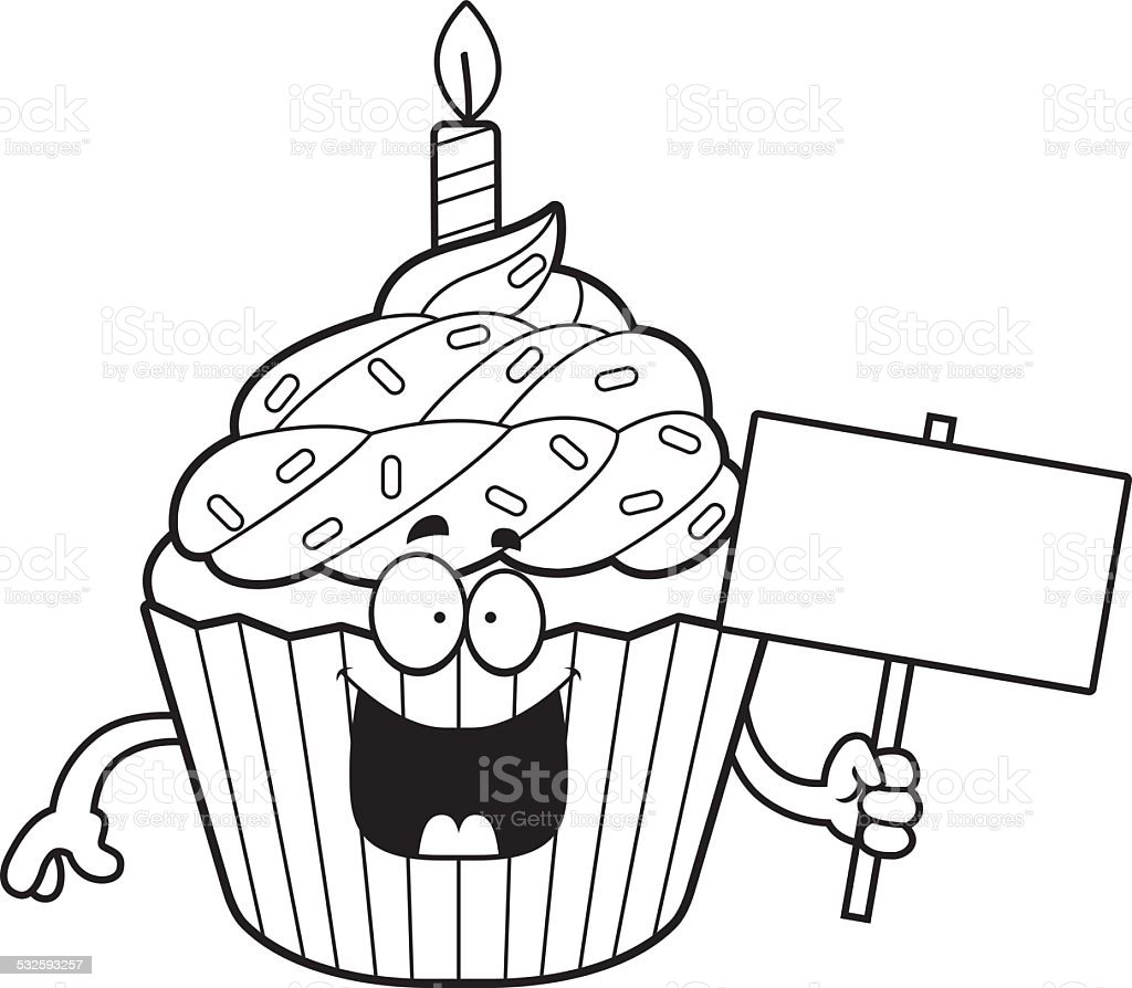 Cartoon Birthday Cupcake Sign Stock Vector Art 532593257 Istock