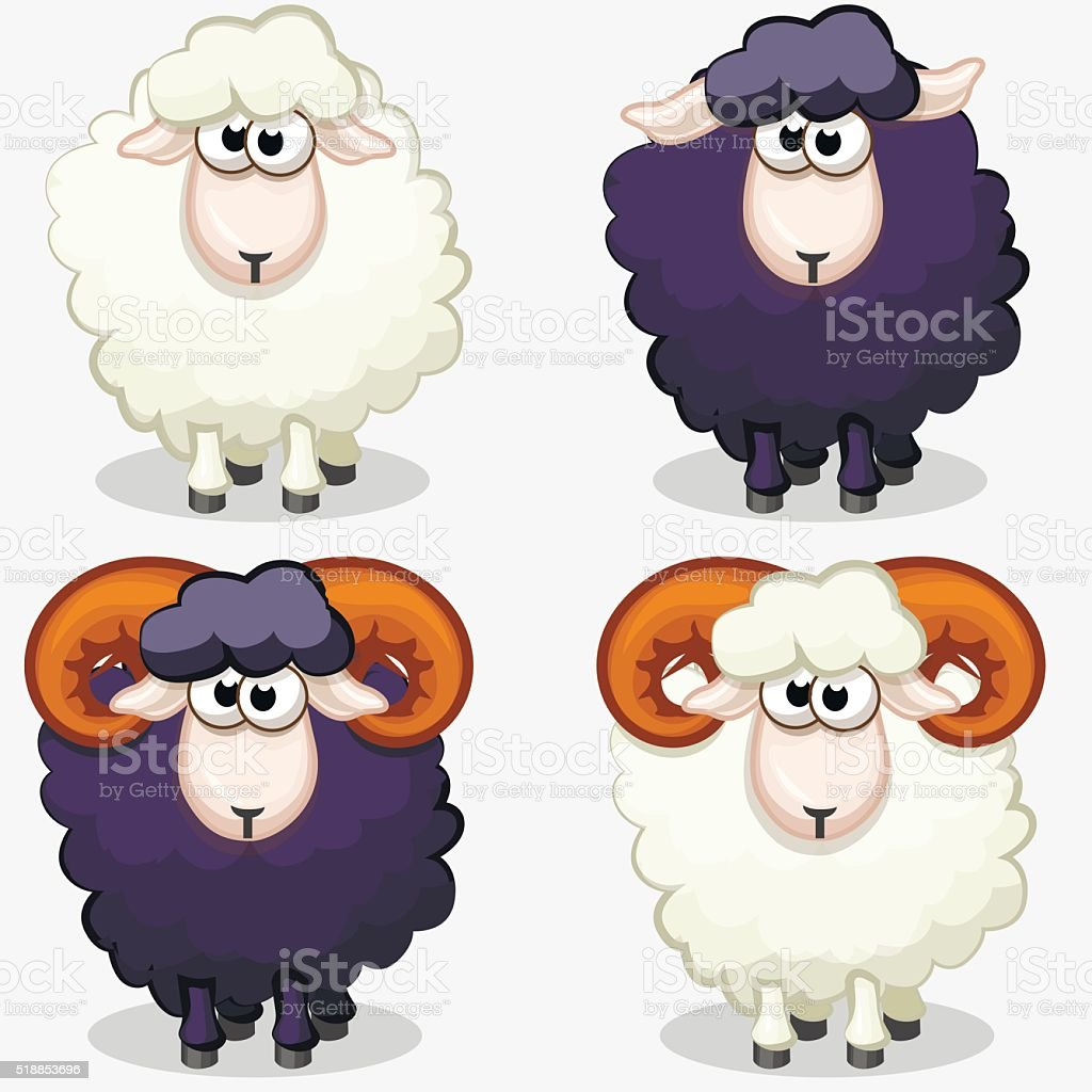 cartoon black and white sheep vector art illustration
