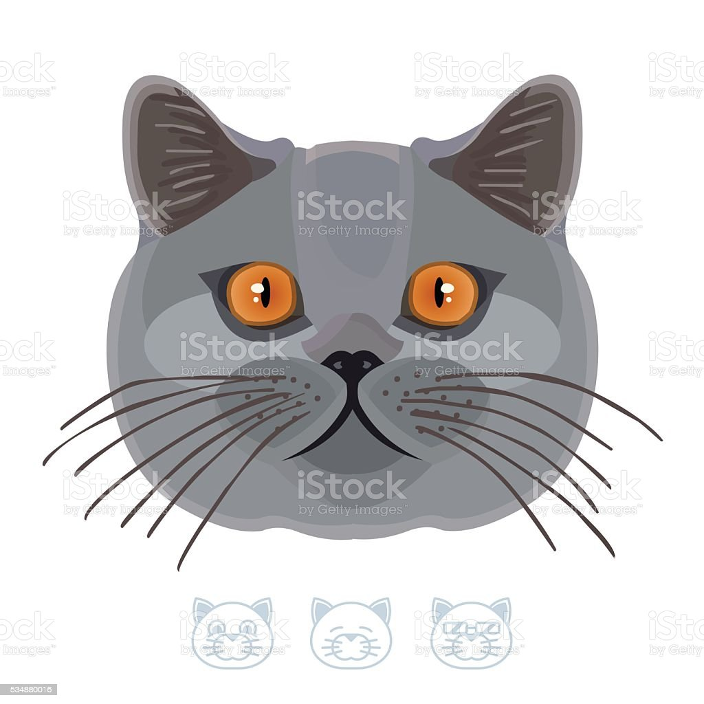 Cartoon black cat portrait. Vector Illustration. vector art illustration