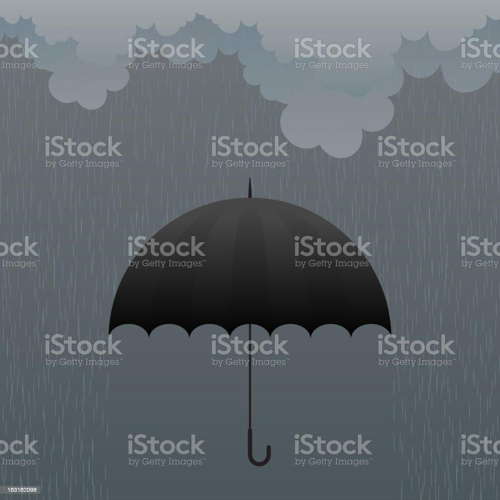Cartoon black umbrella in rain on grey background royalty-free stock vector art