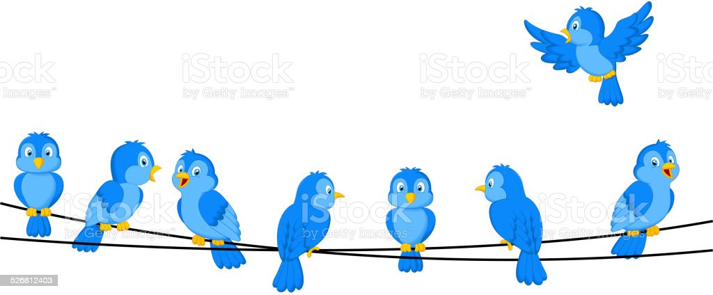 Cartoon blue bird on wire vector art illustration