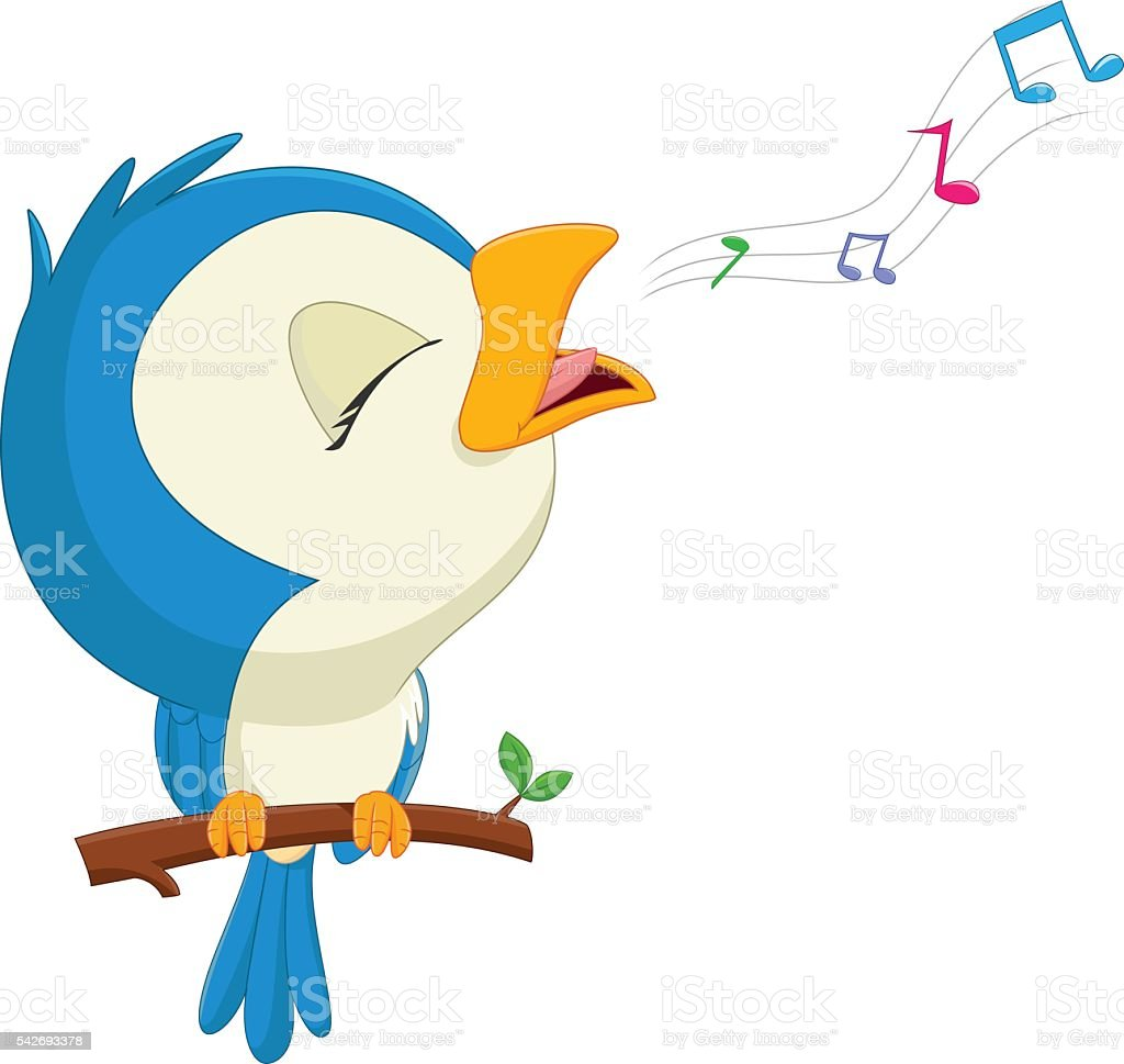 cartoon blue bird singing vector art illustration