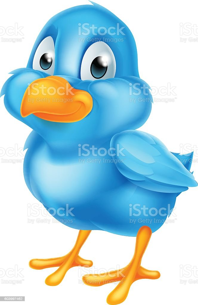 Cartoon Blue Bird vector art illustration