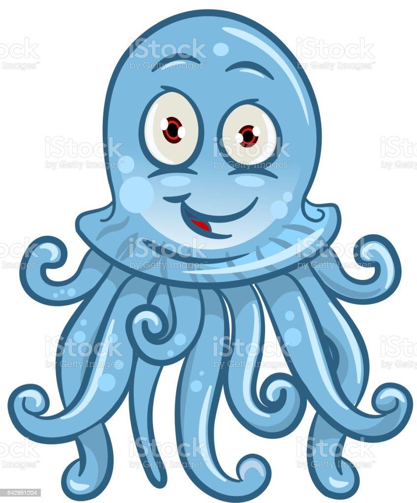 Cartoon blue jellyfish for sea life design vector art illustration