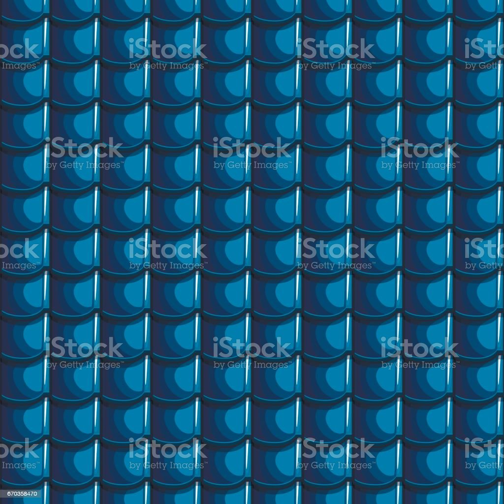 Cartoon blue Roof Tiles Seamless Background vector art illustration