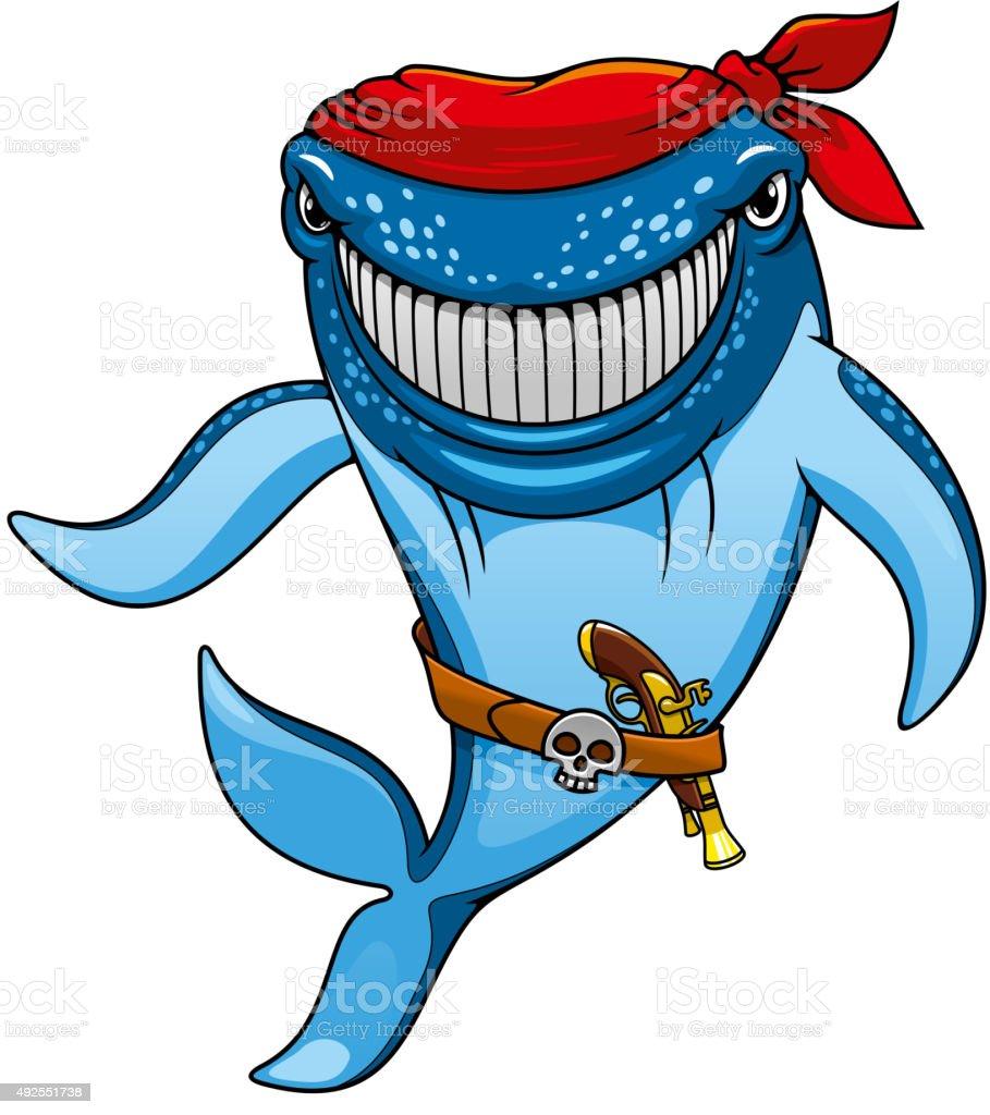 Cartoon blue whale pirate in bandanna and gun vector art illustration