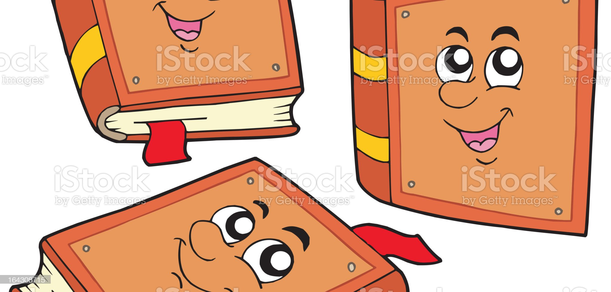 Cartoon books in various positions royalty-free stock vector art