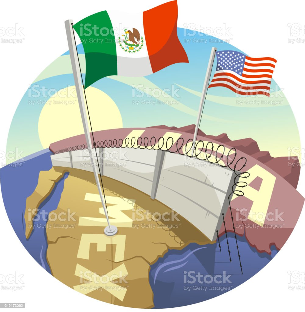 Cartoon Border Wall Between Usa And Mexico Stock Vector Art - Map of us border fence