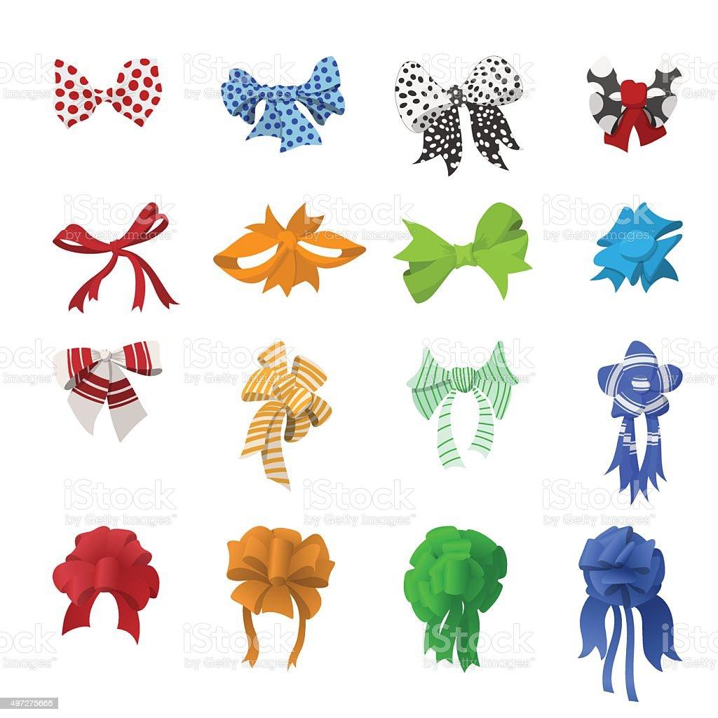 Cartoon bows and ribbons set vector art illustration
