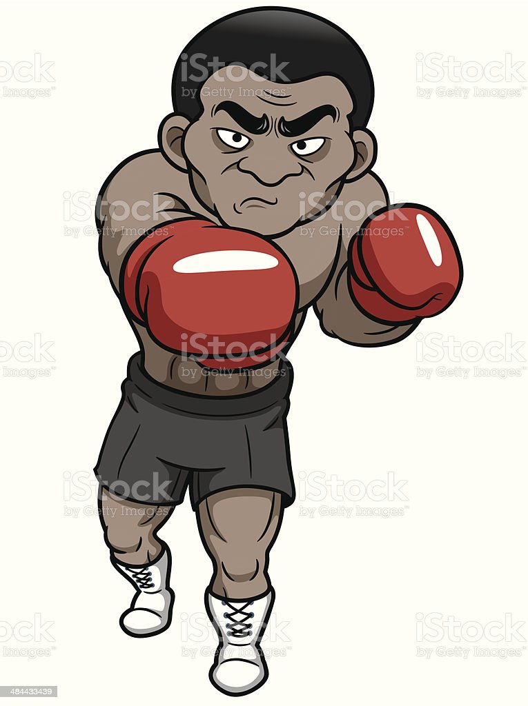 Cartoon boxer vector art illustration